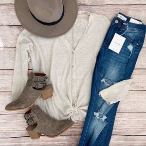 Tie-Front Light-Knit Button-Down Sweater - beige